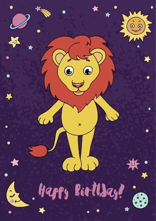 Leo zodiac sign on night sky background with stars