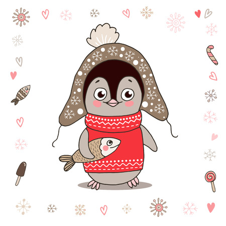 Cute little penguin in warm clothes with fish. Illustration on white background with lovely frame made of snowflake. Illustration