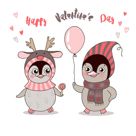 Two cute penguins fallen in love. Funny birds got dressed in warm clothes, have a balloon on white background.