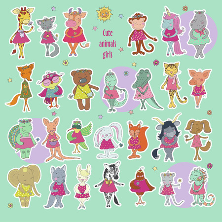 Great Collection of Cute animals girls Illustration