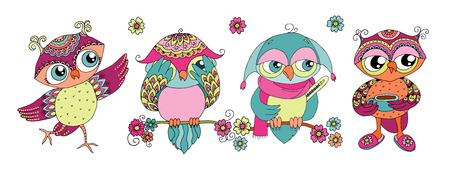 Four cute colorful cartoon owls 일러스트