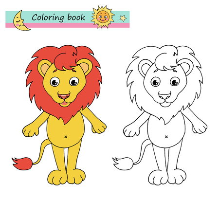 Zodiac sign Leo. Vector illustration of cute lion in cartoon style, linear drawing. Black and white, colorful images, be used for coloring book. Иллюстрация