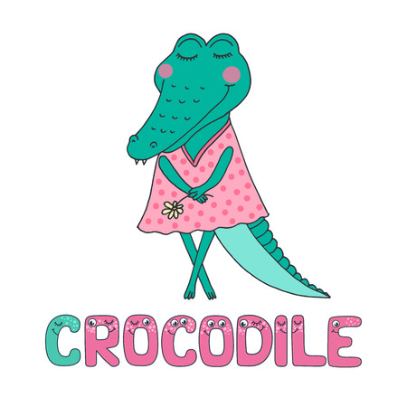 Cute crocodile with closed eyes in pink dress