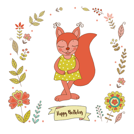 Cute squirrel with vintage frame for your design in doodle style. Cartoon illustration for wedding invitations and romantic cards, birthday and other holiday. Illustration