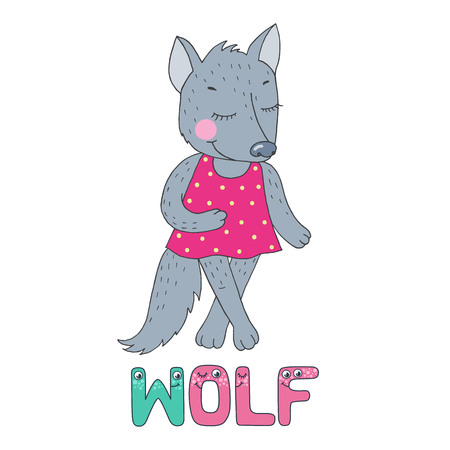 A cute wolf dressed in pink. The letter W and the word wolf from the funny children's alphabet with the eyes. Vector illustration on the white background in cartoon style. Vectores