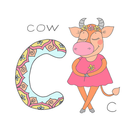 Cute cow with closed eyes in pink dress