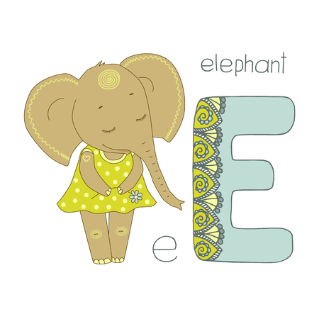 Cute elephant with closed eyes in yellow dress. Letter E of the kids alphabet with elements zentangle, doodling style for children education. Vector illustration on white background Illustration