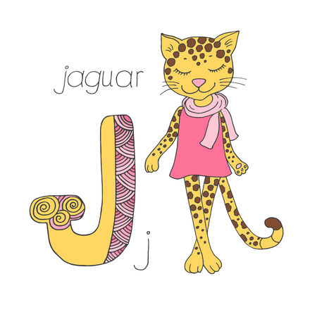 Cute jaguar with closed eyes in pink dress Illustration