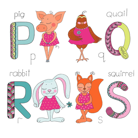 Cute animals with closed eyes in pink dress. Letter P, Q, R,S of the kids alphabet with elements, doodling style for children education. Vector illustration on white background Ilustração