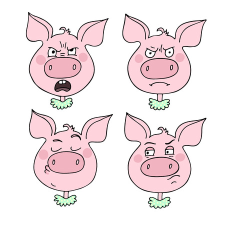 A set of pig emotions, including angry, irritated, arrogant. Facial expression  Vector illustration in cartoon style.