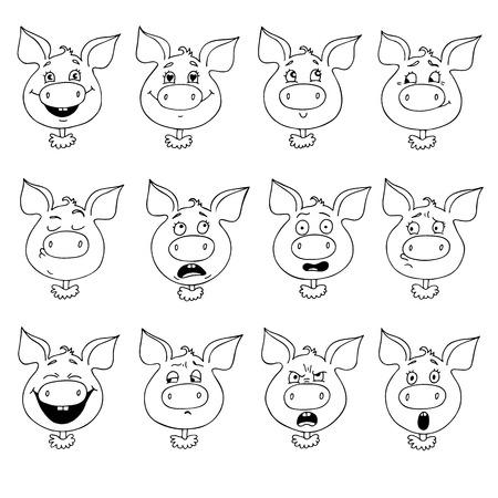 Set of pigs emotions illustration Çizim