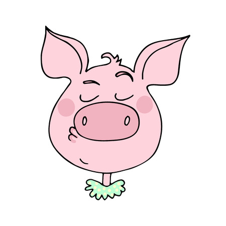 The cute pig has an arroganced expression. Vector illustration of cartoon style Çizim