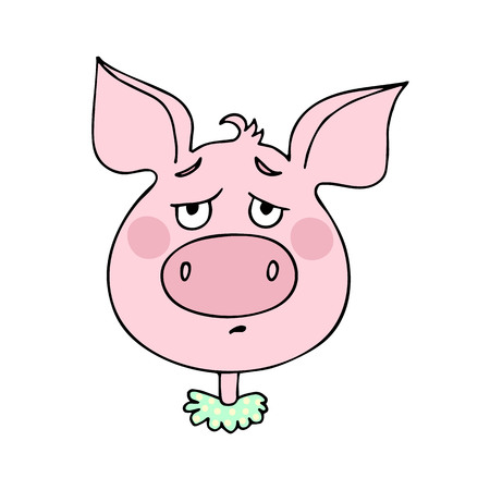 The cute pig has an expression of sadness and longing. Vector illustration of cartoon style