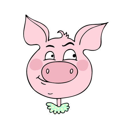 The cute pig has an expression of curiosity. Vector illustration of cartoon style