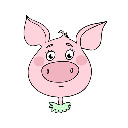 The cute pig with  neutral expression illustration