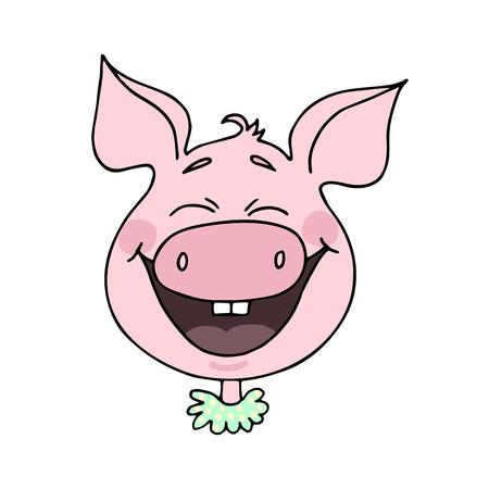 Cute piggy laughs happily. Vector illustration of cartoon style Фото со стока - 96380728