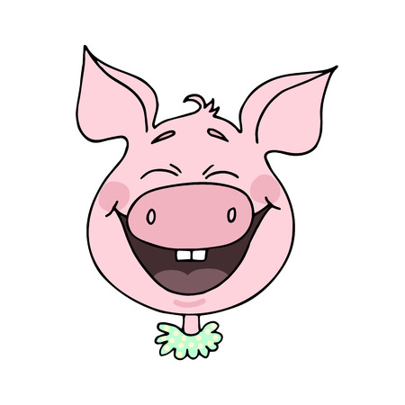Cute piggy laughs happily. Vector illustration of cartoon style Illustration