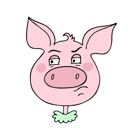 The cute pig has an expression of contempt Illustration