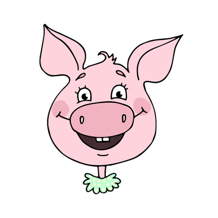 Cute Pig with an expression of of a smile and joy