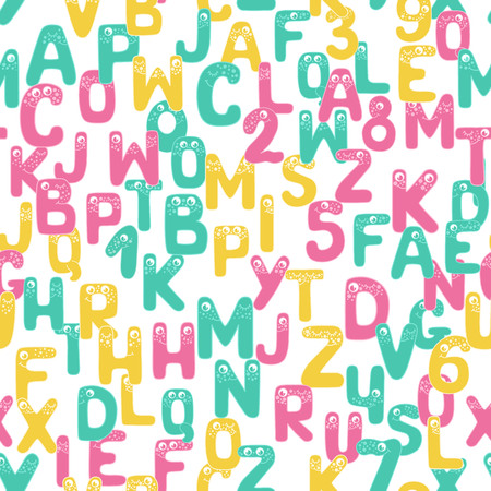 Bright seamless pattern with funny alphabet 向量圖像
