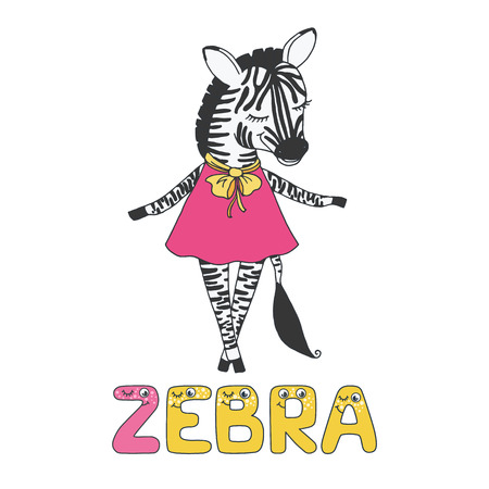 Cute zebra with closed eyes in pink dress
