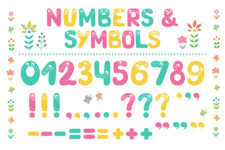 Big set of cute colorful smiling number characters from 0 to 9 and punctuation marks. Funny Font  Cartoon vector illustration on white background for children. Ilustracja