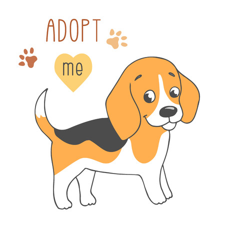 Cute dog cartoon illustration with Adopt me text.