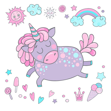 Cute magic collection with unicorn