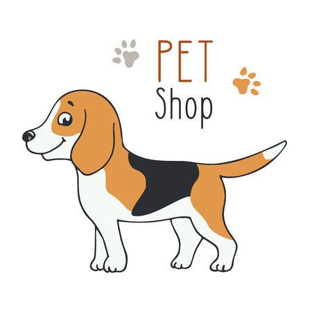 Cute smiling dog for pet shop