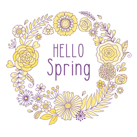 Vintage frame with flowers and hello spring text.