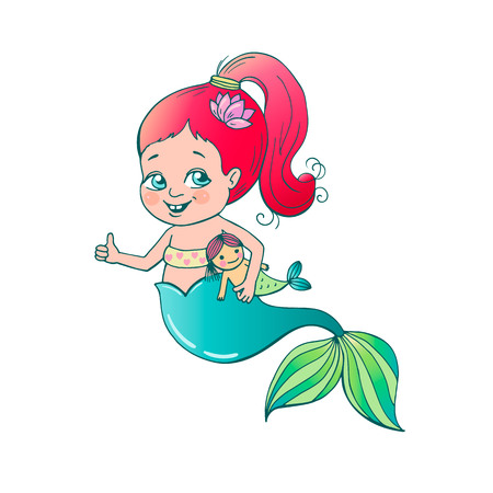 Cute little smiling mermaid.
