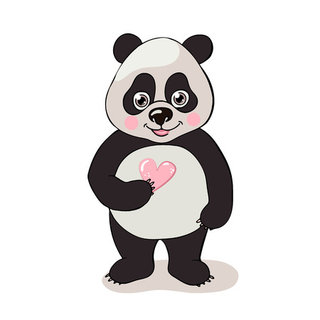 Cute smiling panda holds the heart in hand