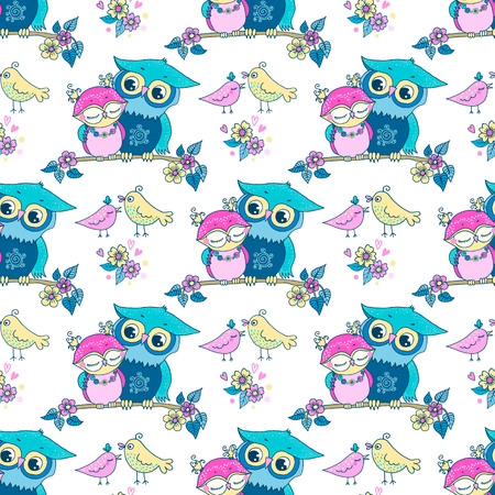 seamless pattern of cute colorful cartoon owls