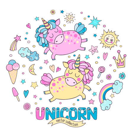 Cute magic collection with two unicorns Ilustração