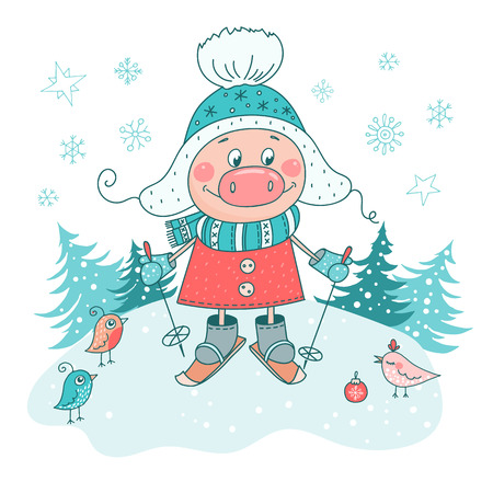 Decorative poster with skiing pig. Cartoon style winter illustration. Trendy symbol of 2019 new year. Hand drawn pigy, snow forest backdrop isolated on white. Vector template for greeting card, print Ilustração