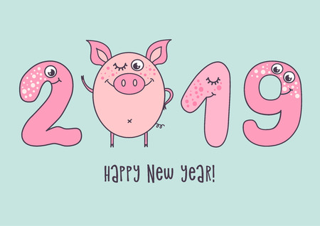 Cute card design with cartoon funny pig and with smiling numerals and opened eyes. Trendy symbol of 2019 new year. The best gift postcard. Vector illustration on blue background.