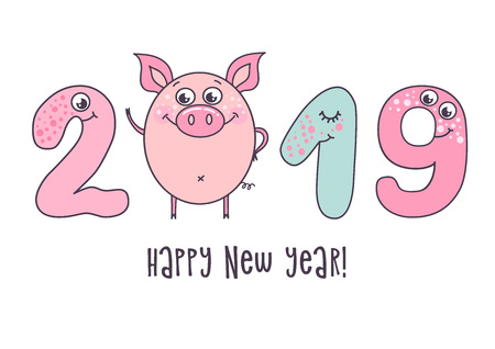Cute card design with cartoon funny pig and with smiling numerals and opened eyes. Trendy symbol of 2019 new year. The best gift postcard. Vector illustration on white background.