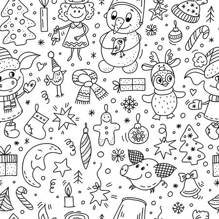 Vector seamless pattern with hand drawn doodle elements - pig, snowflake, snowman, bird, penguin, stars, Christmas trees, Christmas decorations and others. Black and white colors.