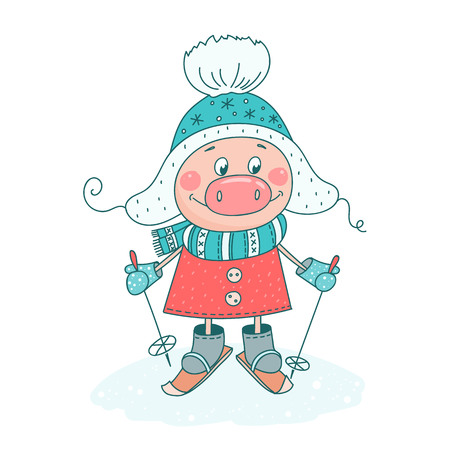 A funny cartoon pig in warm clothes on skis. Piglet symbol of the Chinese new year. Isolated objects on white background. Vector illustration