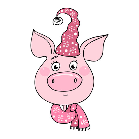 Portrait of a cute pig has a neutral expression. Piglet dressed in a hat and a scarf with snowflakes. Cheerful vector illustration for design of the New Year and Christmas. Symbol of the year 2019. Ilustração