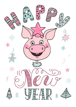 Portrait of a cute smiling pig in a star-shaped hat Ilustração