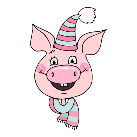 Portrait of a broadly smiling cute pig dressed in a striped hat and scarf