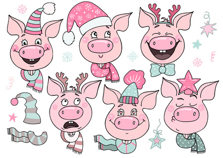 Set of cute pigs with emotions of joy and happiness