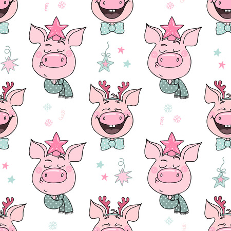 Beautiful seamless pattern of cute pigs with emotions of joy and arrogance. Piglets are dressed in Christmas hats - deer horns, a star. Symbol of the year 2019