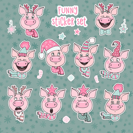Set of 10 cute stickers pigs with emotions