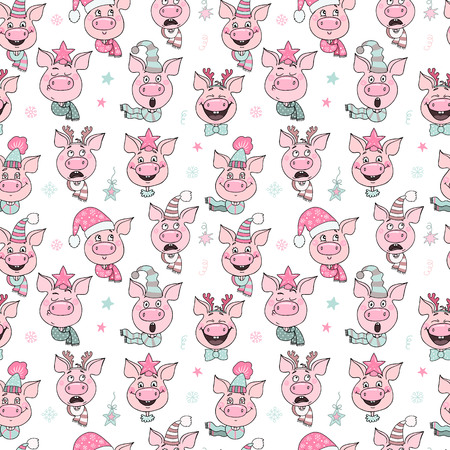 Beautiful seamless pattern of cute pigs with hats