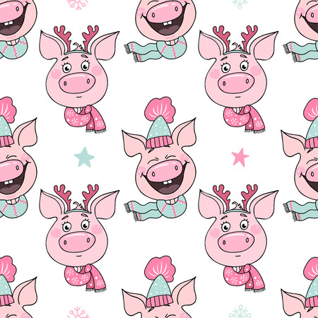 Seamless pattern of funny pigs with emotions of joy and embarrassment 스톡 콘텐츠