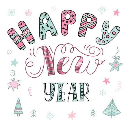 Happy New Year text, hand drawn lettering. Vector design element in doodle style. Christmas holiday illustration for design greeting cards, invitations.