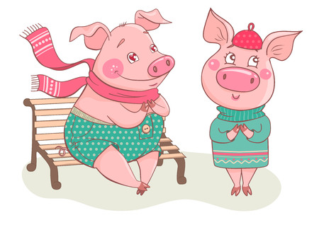 Couple of cute pigs. Boy piglet sitting on a bench is fallen in love. He wears polka-dot pants and scarf. Piggy is standing next to him. Can be used like sticker, romantic cards for Valentines Day Ilustração