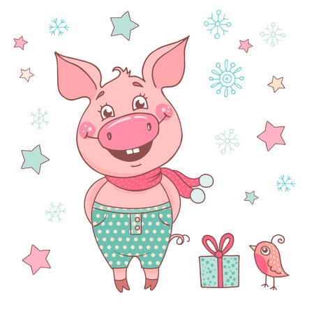 Funny cute laughing pig dressed in in green pants in a peas and scarf. Cheerful vector illustration for design of the New Year on white background with stars and snowflakes. Symbol of the year 2019 Ilustração